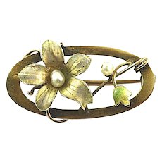 9K Gold Jugendstil Art Nouveau Iridescent Floral Enamel & Natural Freshwater Pearls Bar Pin