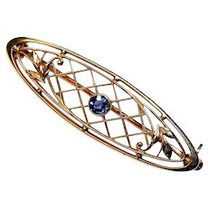 "KREMENTZ  ""Something Blue""  14K Gold Natural Blue Sapphire Bar Pin"