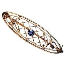 KREMENTZ. 14K Gold Natural Blue Sapphire Bar Pin