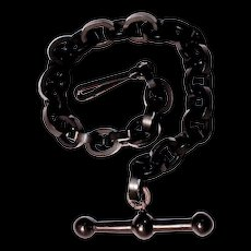 VULCANITE Pocket Watch Chain/Fob - Victorian Mourning Jewelry