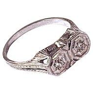 FILIGREE RING - 18 Karat White Gold set with 2-Mine Cut Diamonds