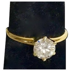 DIAMOND SOLITAIRE RING - 14K Setting with One .75 ct. Brilliant Cut Diamond