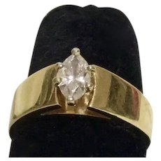 MARQUIS DIAMOND RING - Size 9 - 14K (Stamped) Gold Wedding Band - 1/4ct Brilliant Cut Marquis Diamond