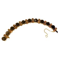 SCHIAPARELLI  TOPAZ Golden & Brown Rhinestones Bracelet set in Gilded Gold  - Signed
