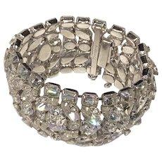 EISENBERG GLITZ Huge Signed Rhinestone Crystal Bracelet/Cuff Bling