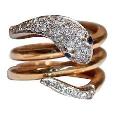 Snake Gold 14K Ring - Sapphire Eyes & Mine-Cut Diamonds set in Platinum
