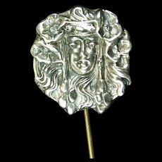 'Sarah Bernhardt'  Art Nouveau Sterling Stickpin