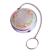 GUILLOCHE PATCH BOX/COMPACT  - Garland of Pink Roses on Sterling Silver