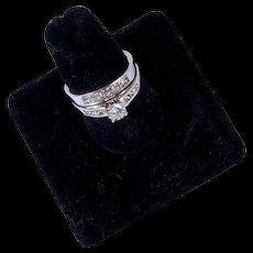 WEDDING RING SET - 1.20 CTW Diamond 14K White Gold Engagement Ring & Wedding Band