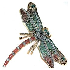 Large 18 Karat Gold Plique a Jour Dragonfly Brooch - Diamonds & Emeralds