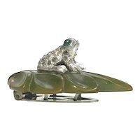 DRESS CLIP Rhinestone Frog Sitting on a Green Bakelite Leaf