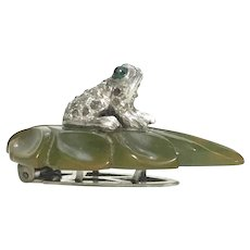DRESS CLIP Rhinestone Frog Sitting on a Green Bakelite Leaf