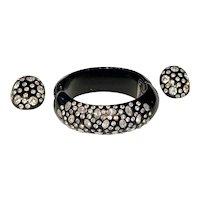 WEISS Clamper Bracelet & Clip-On Earrings Set - Rhinestones set in Black Thermoplastic - Signed
