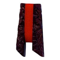 ART DECO PIN - Bakelite - Deeply Carved Brown with Cherry Red Center