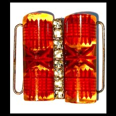 Reverse Carved Butterscotch Bakelite & Rhinestone Belt Buckle