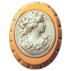 CAMEO - Butterscotch Bakelite & Celluloid Profile of Beautiful Woman