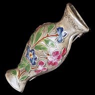 CORO Tussie Mussie/Posy Holder - Sterling with Enamel Flowers