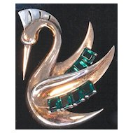 BOUCHER - 1938 Vermeil Swan-Like Bird - Emerald Green Color Rhinestones Brooch/Pin  Signed
