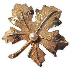 KRAMER Maple Leaf Brooch - Gold-Tone with Simulated Pearl Center