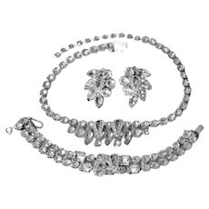 EISENBERG PARURE - Matching Rhinestone Necklace. Bracelet, and Clip-On Earrings