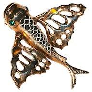 NETTIE ROSENSTEIN  - 1930s Flying Fish Vermeil Large Fur Clip/Brooch