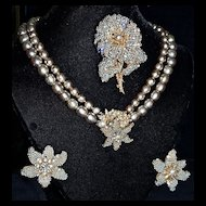 MIRIAM HASKELL 1930s Parure:  Large Trembler Brooch,  Necklace & Clip-On Earrings - Baroque Simulated Pearls & Crystals