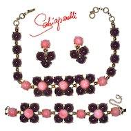 SCHIAPARELLI Parure - Amethyst & Pink Cabochon Necklace, Bracelet & Ear Clips