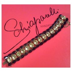 SCHIAPARELLI - Dramatic Bracelet - Large Deep Sapphire & Citrine Rhinestones