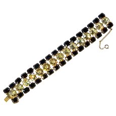 SCHIAPARELLI  Sapphire & Citrine Crystals -Dramatic Bracelet