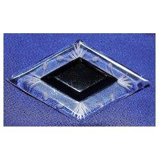 Art Deco Reverse Carved Black Bakelite & Clear Lucite Diamond Shaped Brooch/Pin