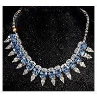 HATTIE CARNEGIE - Brilliant 3-Dimensional Azure Blue & Clear Crystal Necklace - Hattie Carnegie