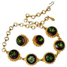 SCHIAPARELLI GREEN SET:  Gold-Toned Necklace & Earring- Green Watermelon/Tourmaline Rhinestones