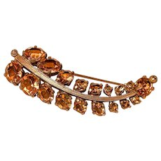 EISENBERG ORIGINAL Brooch/Pin - Golden Topaz Colored Stones Claw-Set in Gold-Tone Metal