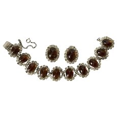 KRAMER Necklace & Clip-On Earrings - Brown Cabochon Stones with Figure-8 Crystal Rhinestones & Matching Clip-Ons - Signed