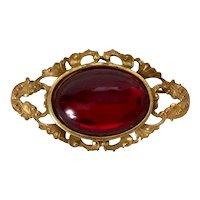 MIRIAM HASKELL Cabochon Ruby Rhinestone  Gilded Brooch/Pin - Signed