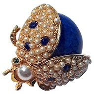 HATTIE CARNEGIE Ladybug Pin - Cobalt Blue with Simulated Pearls & Rhinestones