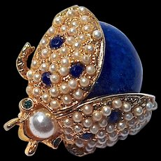 HATTIE CARNEGIE Ladybug Pin - Cobalt Blue with Simulated Pearls & Rhinestones