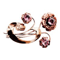 HARRY ISKIN Retro Brooch -Swirl of  Three Flowers with Crystal Un-Foiled Amethyst Centers