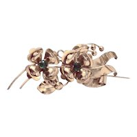 HARRY ISKIN Gold-Tone Two Flower Brooch with Dark Emerald Crystal Centers
