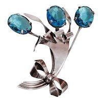 RETRO BROOCH - Three Flower Spray with Un-foiled Sea-Blue Crystal Stones in Sterling