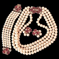 SCHIAPARELLI  Ruby and Pearl Parure - Necklace, Bracelet  & Clip On Earrings