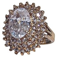 JOLIE GABOR Huge Cocktail Ring - Crafted with Russian Cubic Zirconia set in Vermille (Gold over Sterling).