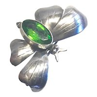 HOBE BUTTERFLY Pin - Sterling with Green Peridot Color Crystal Marquis Crystal