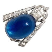 DECO BUG - Art Deco Sterling Bug with Cabochon Blue Sapphire Crystal Body