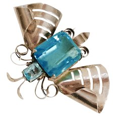 DECO MOTH/BUTTERFLY Fur Clip with Large Emerald-Cut Aquamarine Crystal Stone set in Sterling Silver