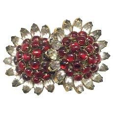 HATTIE CARNEGIE 'Pomegranate' Early Double Flower Rhinestone Brooch/Pin - Signed