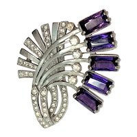 EISENBERG ORIGINAL Abstract Flower Brooch -  Early, Rare & Large with Striking Large Emerald Cut Amethyst Crystals