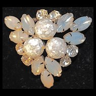 Triangular Brooch/Pin with Large Prong Set Opalescent Stones