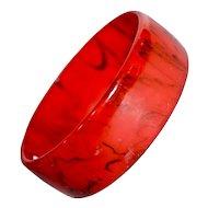 """Red Marbleized 1"""" Bakelite Bracelet/Bangle"""