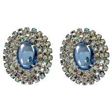 HATTIE CARNEGIE Blue Rhinestone Large Oval Clip-On Earrings - Cabochon Center Stone